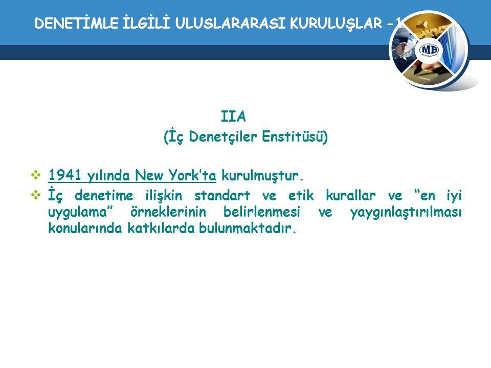DENETİMLE İLGİLİ ULUSLARARASI KURULUŞLAR -1 IIA (İç Denetçiler Enstitüsü)  1941 yılında New York'ta kurulmuştur.  İç denetime ilişkin standart ve et