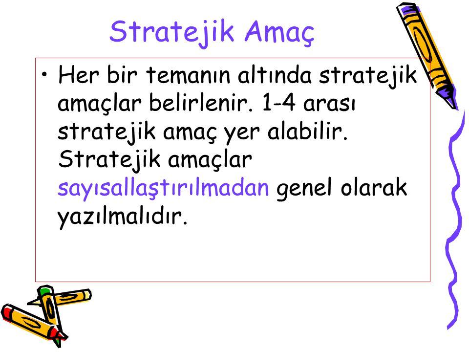 Stratejik Amaç Her bir temanın altında stratejik amaçlar belirlenir. 1-4 arası stratejik amaç yer alabilir. Stratejik amaçlar sayısallaştırılmadan gen