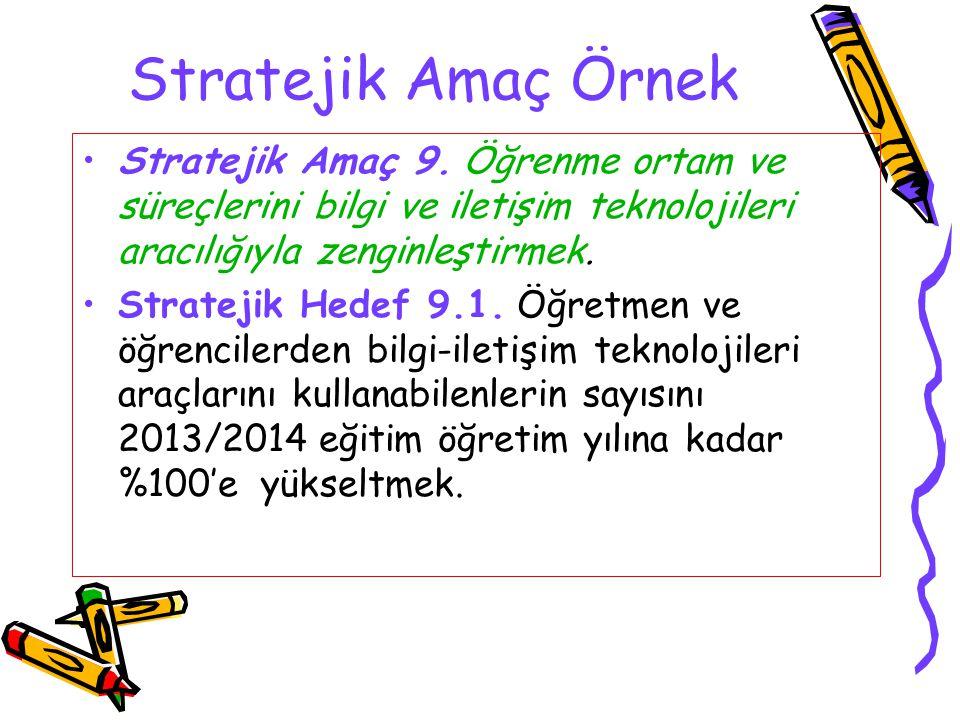 Stratejik Amaç Örnek Stratejik Amaç 9. Öğrenme ortam ve süreçlerini bilgi ve iletişim teknolojileri aracılığıyla zenginleştirmek. Stratejik Hedef 9.1.