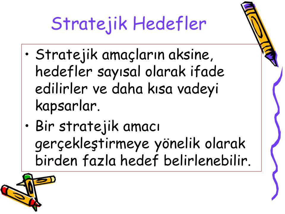 Stratejik Hedefler Stratejik amaçların aksine, hedefler sayısal olarak ifade edilirler ve daha kısa vadeyi kapsarlar. Bir stratejik amacı gerçekleştir