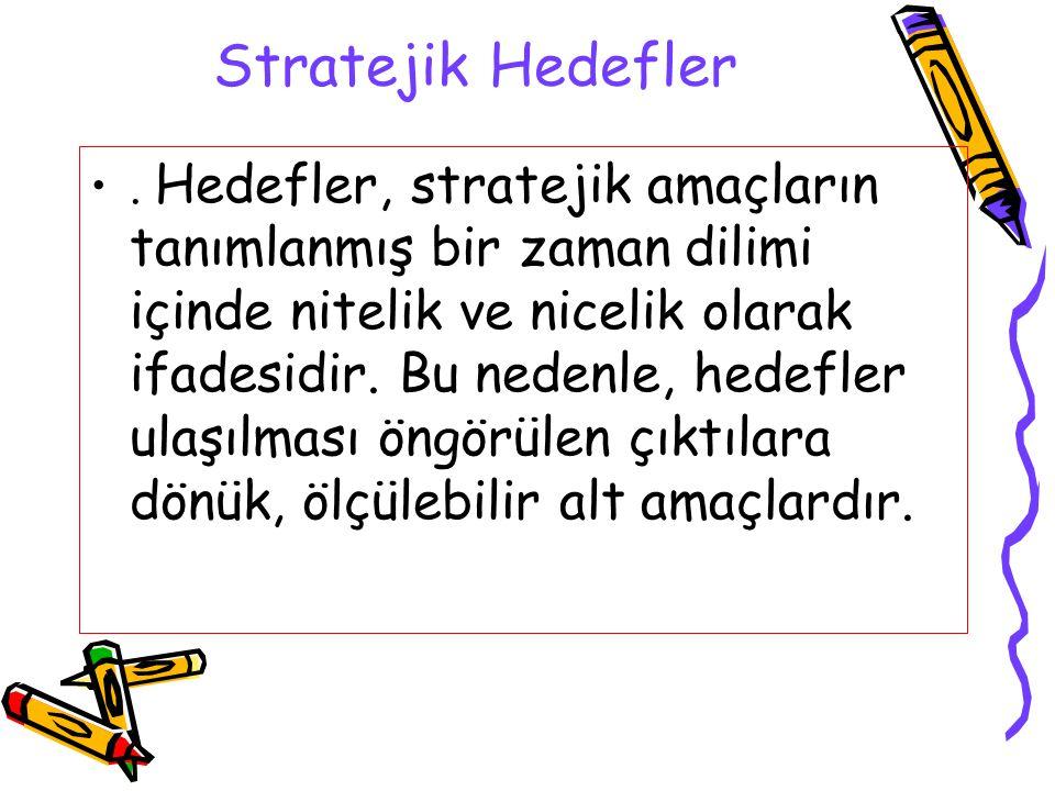 Stratejik Hedefler. Hedefler, stratejik amaçların tanımlanmış bir zaman dilimi içinde nitelik ve nicelik olarak ifadesidir. Bu nedenle, hedefler ulaşı