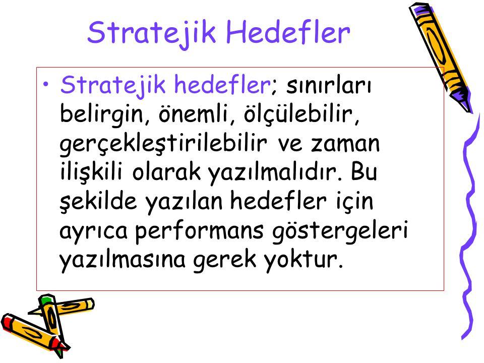 Stratejik Hedefler Stratejik hedefler; sınırları belirgin, önemli, ölçülebilir, gerçekleştirilebilir ve zaman ilişkili olarak yazılmalıdır. Bu şekilde