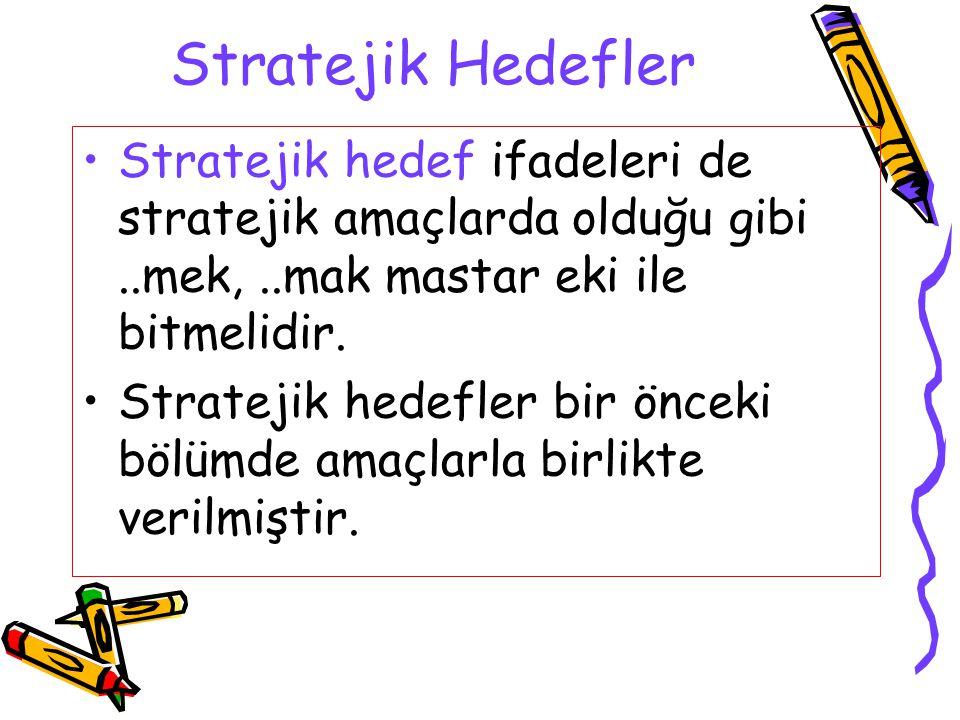 Stratejik Hedefler Stratejik hedef ifadeleri de stratejik amaçlarda olduğu gibi..mek,..mak mastar eki ile bitmelidir. Stratejik hedefler bir önceki bö