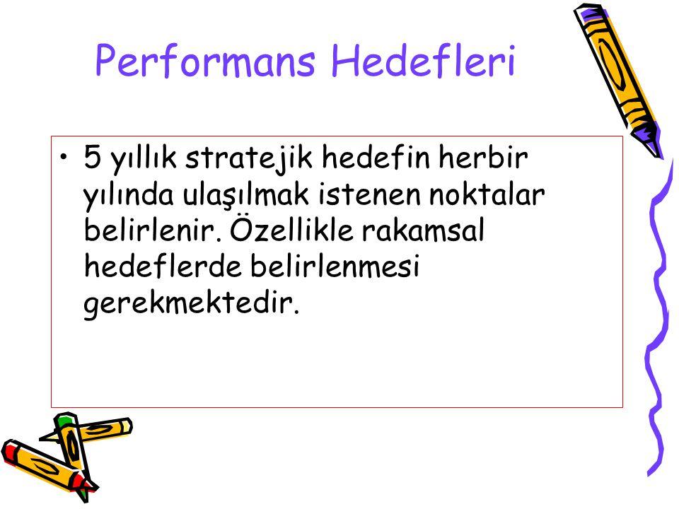 Performans Hedefleri 5 yıllık stratejik hedefin herbir yılında ulaşılmak istenen noktalar belirlenir. Özellikle rakamsal hedeflerde belirlenmesi gerek