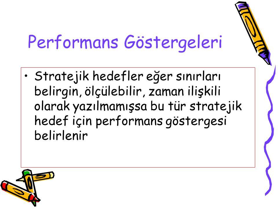 Performans Göstergeleri Stratejik hedefler eğer sınırları belirgin, ölçülebilir, zaman ilişkili olarak yazılmamışsa bu tür stratejik hedef için perfor