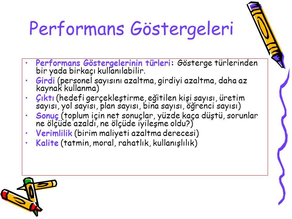 Performans Göstergeleri Performans Göstergelerinin türleri: Gösterge türlerinden bir yada birkaçı kullanılabilir. Girdi (personel sayısını azaltma, gi