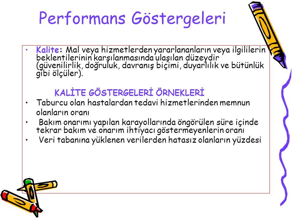 Performans Göstergeleri Kalite: Mal veya hizmetlerden yararlananların veya ilgililerin beklentilerinin karşılanmasında ulaşılan düzeydir (güvenilirlik