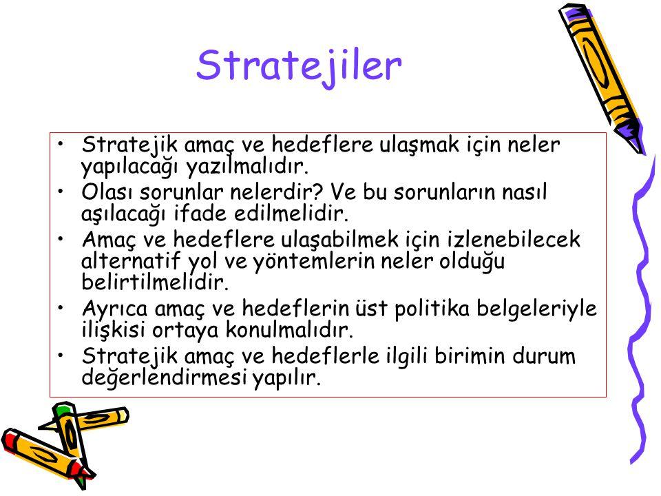Stratejiler Stratejik amaç ve hedeflere ulaşmak için neler yapılacağı yazılmalıdır. Olası sorunlar nelerdir? Ve bu sorunların nasıl aşılacağı ifade ed