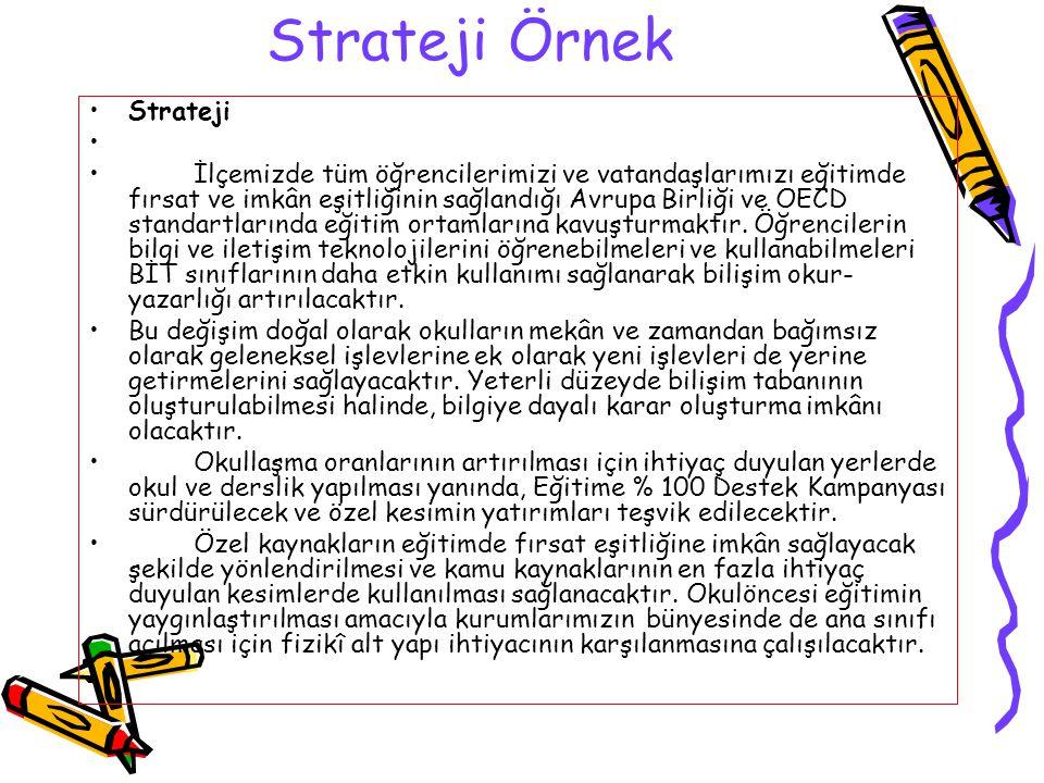 Strateji Örnek Strateji İlçemizde tüm öğrencilerimizi ve vatandaşlarımızı eğitimde fırsat ve imkân eşitliğinin sağlandığı Avrupa Birliği ve OECD stand
