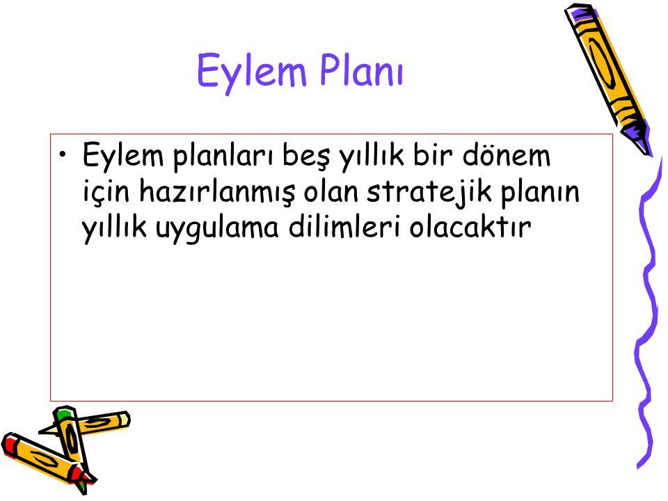Eylem Planı Eylem planları beş yıllık bir dönem için hazırlanmış olan stratejik planın yıllık uygulama dilimleri olacaktır