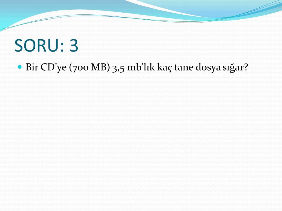 SORU: 3 Bir CD'ye (700 MB) 3,5 mb'lık kaç tane dosya sığar?