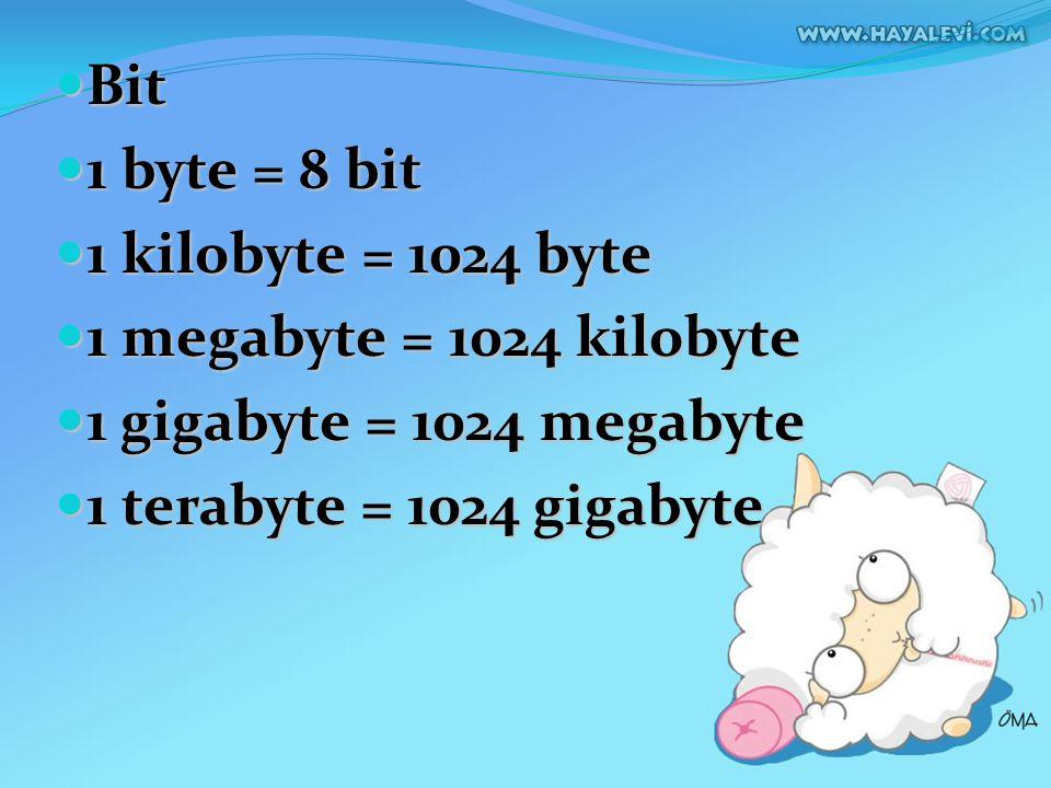 Bit Bit 1 byte = 8 bit 1 byte = 8 bit 1 kilobyte = 1024 byte 1 kilobyte = 1024 byte 1 megabyte = 1024 kilobyte 1 megabyte = 1024 kilobyte 1 gigabyte =