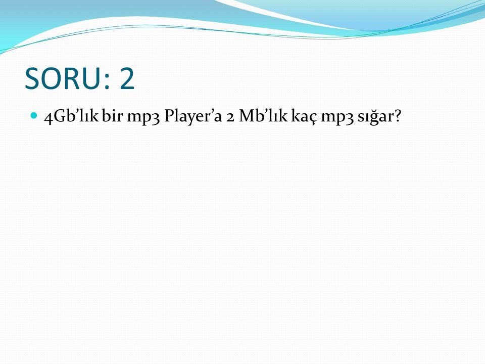 SORU: 2 4Gb'lık bir mp3 Player'a 2 Mb'lık kaç mp3 sığar?