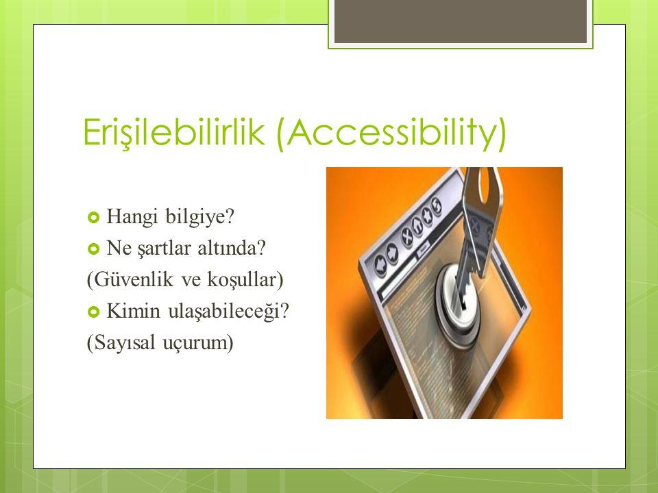 Erişilebilirlik (Accessibility)  Hangi bilgiye. Ne şartlar altında.