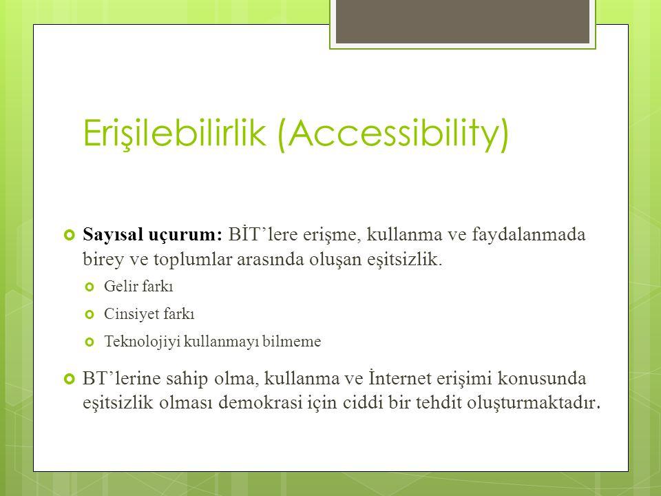 Erişilebilirlik (Accessibility)  Sayısal uçurum: BİT'lere erişme, kullanma ve faydalanmada birey ve toplumlar arasında oluşan eşitsizlik.