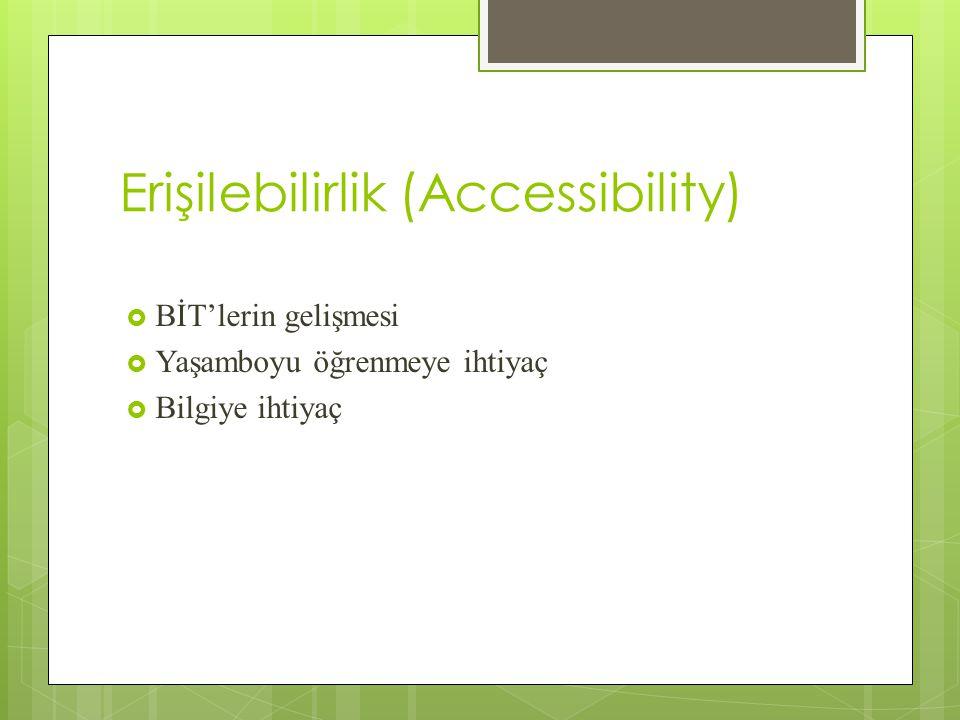 Erişilebilirlik (Accessibility)  BİT'lerin gelişmesi  Yaşamboyu öğrenmeye ihtiyaç  Bilgiye ihtiyaç