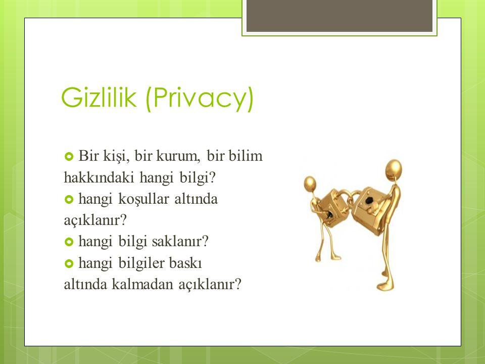Gizlilik (Privacy)  Bir kişi, bir kurum, bir bilim hakkındaki hangi bilgi.