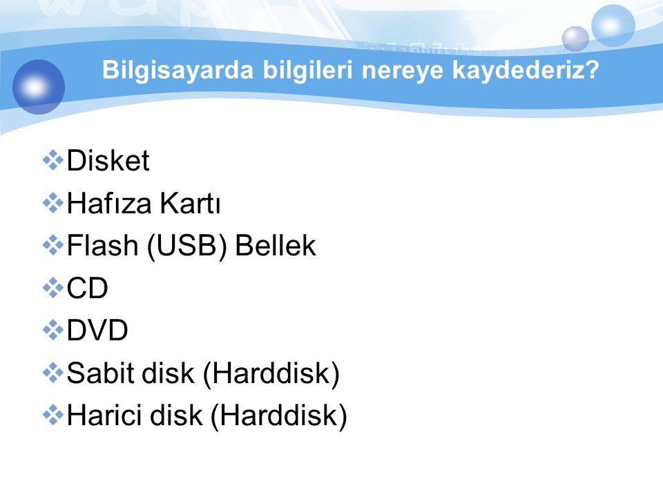  Disket  Hafıza Kartı  Flash (USB) Bellek  CD  DVD  Sabit disk (Harddisk)  Harici disk (Harddisk) Bilgisayarda bilgileri nereye kaydederiz?