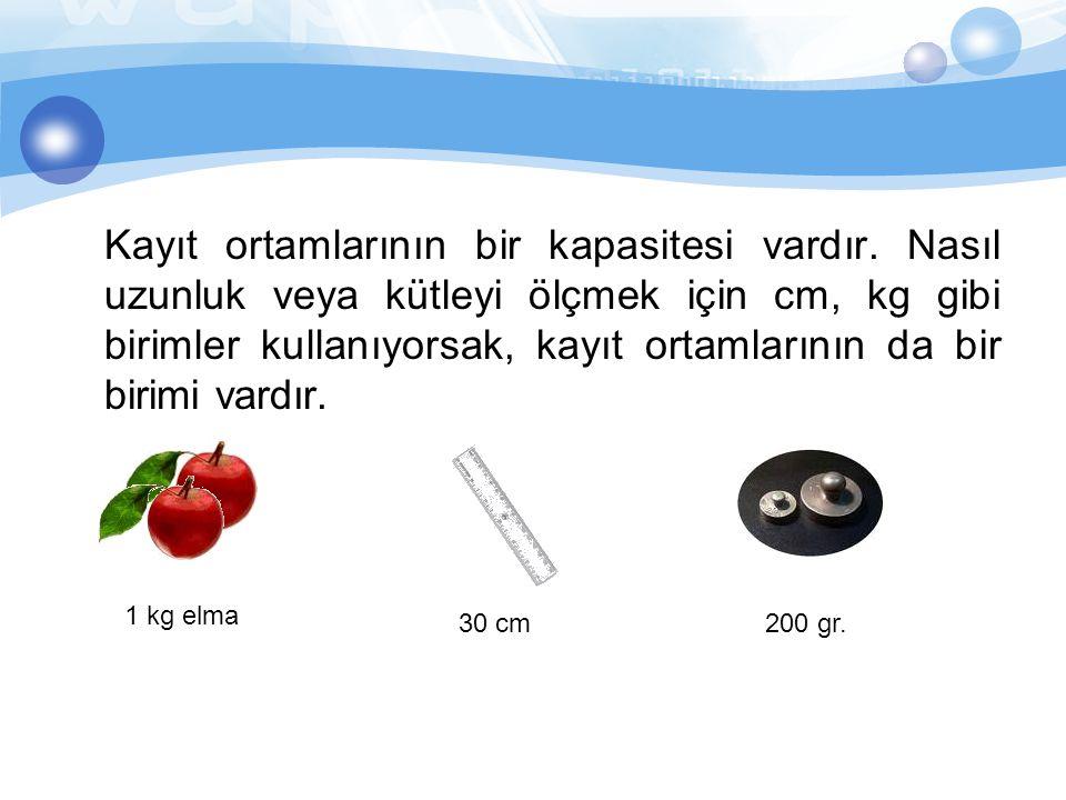 Kayıt ortamlarının bir kapasitesi vardır. Nasıl uzunluk veya kütleyi ölçmek için cm, kg gibi birimler kullanıyorsak, kayıt ortamlarının da bir birimi