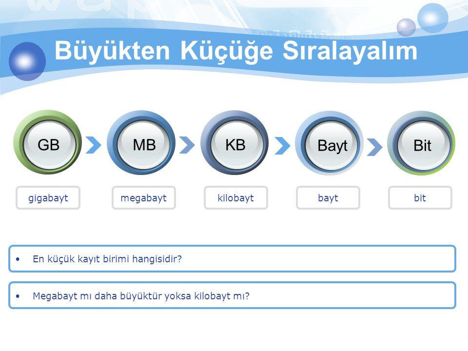En küçük kayıt birimi hangisidir? Büyükten Küçüğe Sıralayalım GBMBKB BaytBit Megabayt mı daha büyüktür yoksa kilobayt mı? gigabaytmegabaytkilobaytbayt