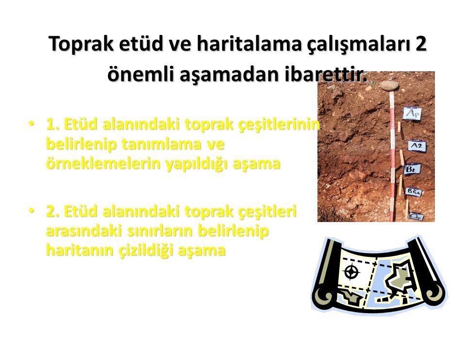 Toprak etüd ve haritalama çalışmaları 2 önemli aşamadan ibarettir. 1. Etüd alanındaki toprak çeşitlerinin belirlenip tanımlama ve örneklemelerin yapıl