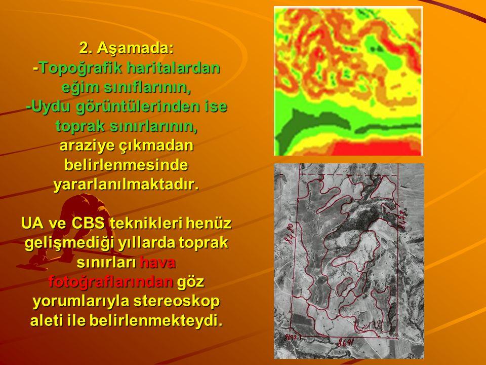 2. Aşamada: -Topoğrafik haritalardan eğim sınıflarının, -Uydu görüntülerinden ise toprak sınırlarının, araziye çıkmadan belirlenmesinde yararlanılmakt
