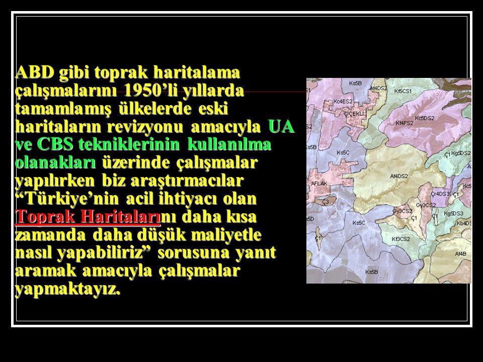 ABD gibi toprak haritalama çalışmalarını 1950'li yıllarda tamamlamış ülkelerde eski haritaların revizyonu amacıyla UA ve CBS tekniklerinin kullanılma