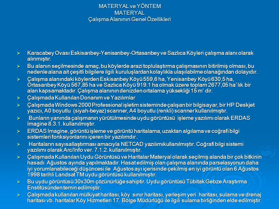 MATERYAL ve YÖNTEM MATERYAL Çalışma Alanının Genel Özellikleri  Karacabey Ovası Eskisarıbey-Yenisarıbey-Ortasarıbey ve Sazlıca Köyleri çalışma alanı olarak alınmıştır.