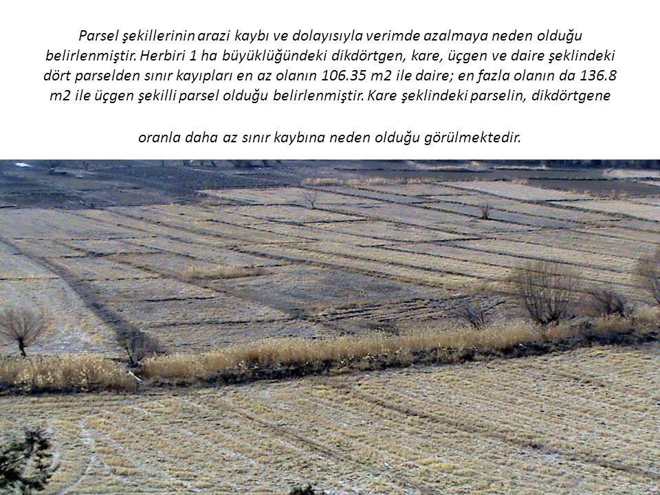 Parsel şekillerinin arazi kaybı ve dolayısıyla verimde azalmaya neden olduğu belirlenmiştir. Herbiri 1 ha büyüklüğündeki dikdörtgen, kare, üçgen ve da