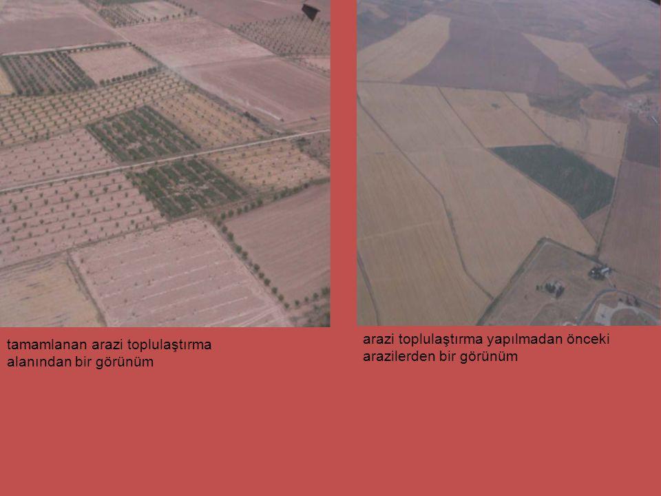 arazi toplulaştırma yapılmadan önceki arazilerden bir görünüm tamamlanan arazi toplulaştırma alanından bir görünüm