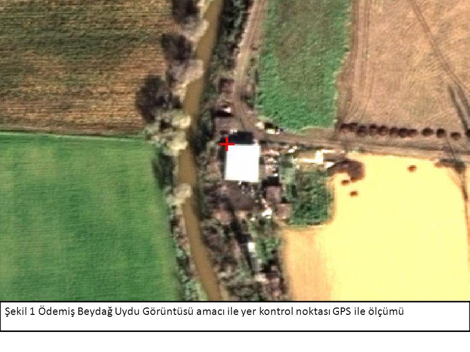 Şekil 1 Ödemiş Beydağ Uydu Görüntüsü amacı ile yer kontrol noktası GPS ile ölçümü