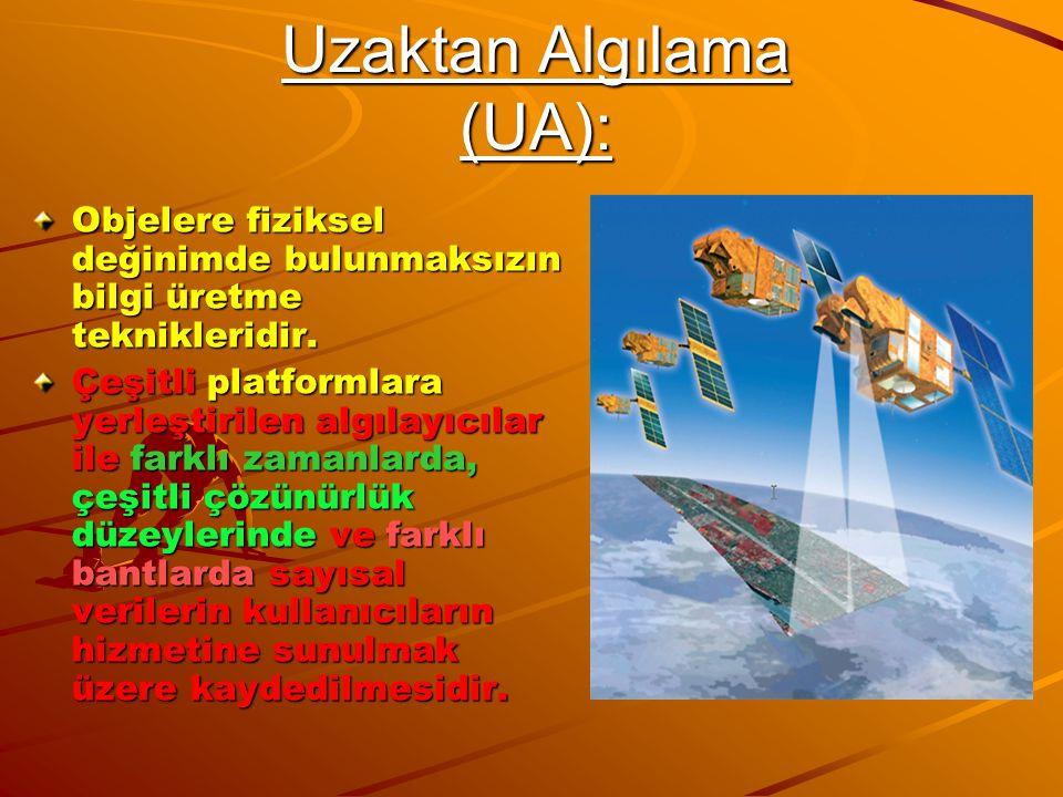 Uzaktan Algılama (UA): Objelere fiziksel değinimde bulunmaksızın bilgi üretme teknikleridir. Çeşitli platformlara yerleştirilen algılayıcılar ile fark