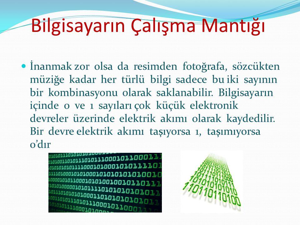 Bilgisayarın Çalışma Mantığı Her bir elektronik devre 1 bit'lik veri oluşturur.