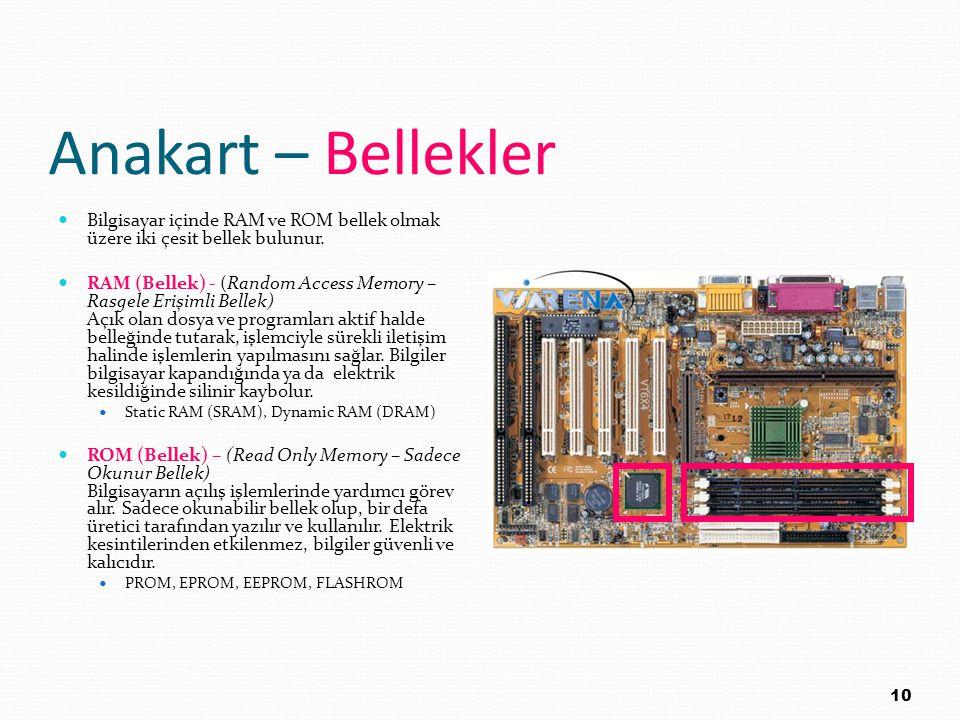 Anakart – Bellekler Bilgisayar içinde RAM ve ROM bellek olmak üzere iki çesit bellek bulunur. RAM (Bellek) - (Random Access Memory – Rasgele Erişimli