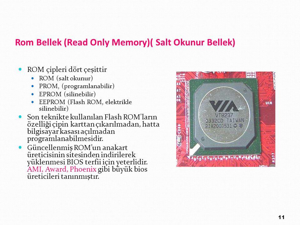 Rom Bellek (Read Only Memory)( Salt Okunur Bellek) ROM çipleri dört çeşittir ROM (salt okunur) PROM, (programlanabilir) EPROM (silinebilir) EEPROM (Fl