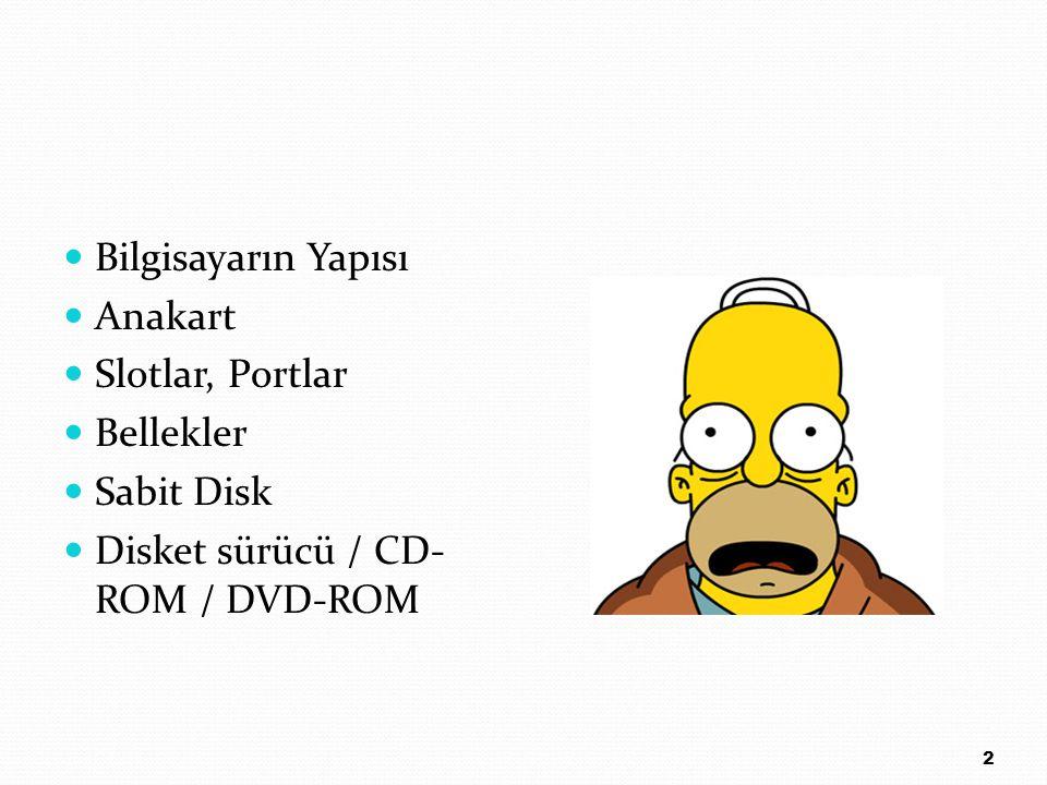 Bilgisayarın Yapısı Anakart Slotlar, Portlar Bellekler Sabit Disk Disket sürücü / CD- ROM / DVD-ROM 2