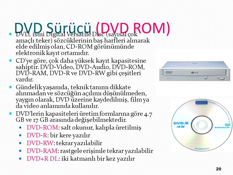 DVD Sürücü (DVD ROM) DVD, ismi Digital Versatile Disc (sayısal çok amaçlı teker) sözcüklerinin baş harfleri alınarak elde edilmiş olan, CD-ROM görünüm