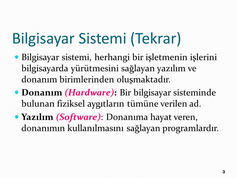 Bilgisayar Sistemi (Tekrar) Bilgisayar sistemi, herhangi bir işletmenin işlerini bilgisayarda yürütmesini sağlayan yazılım ve donanım birimlerinden ol