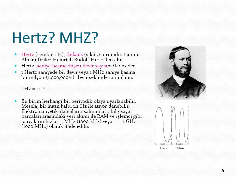 Hertz? MHZ? Hertz (sembol Hz), frekans (sıklık) birimidir. İsmini Alman fizikçi Heinrich Rudolf Hertz'den alır. Hertz; saniye başına düşen devir sayıs