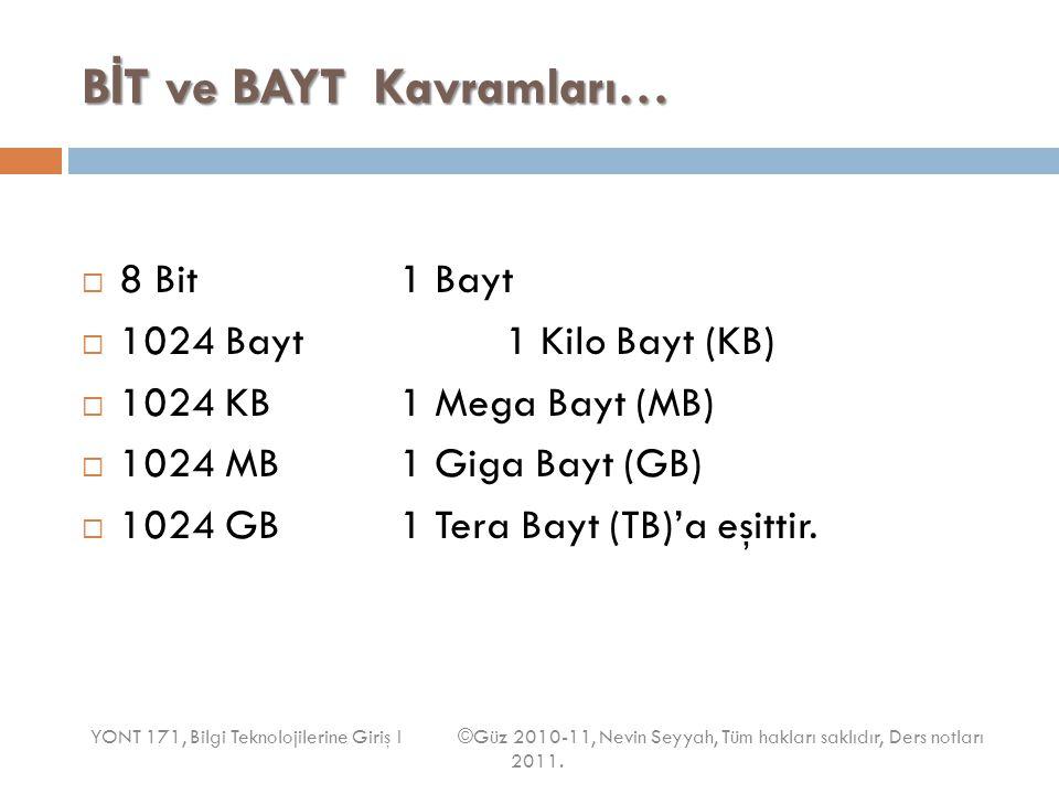 B İ T ve BAYT Kavramları…  8 Bit1 Bayt  1024 Bayt1 Kilo Bayt (KB)  1024 KB1 Mega Bayt (MB)  1024 MB1 Giga Bayt (GB)  1024 GB1 Tera Bayt (TB)'a eş