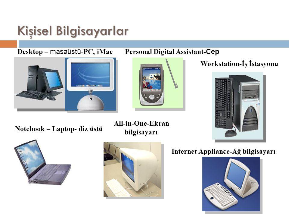 Kişisel Bilgisayarlar Desktop – masaüstü- PC, iMacPersonal Digital Assistant- Cep Workstation-İş İstasyonu Notebook – Laptop- diz üstü All-in-One-Ekra