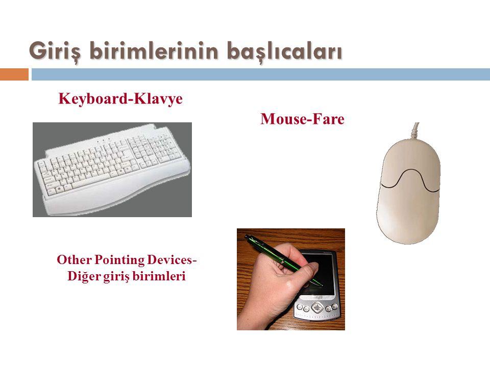 Giriş birimlerinin başlıcaları Keyboard-Klavye Mouse-Fare Other Pointing Devices- Diğer giriş birimleri