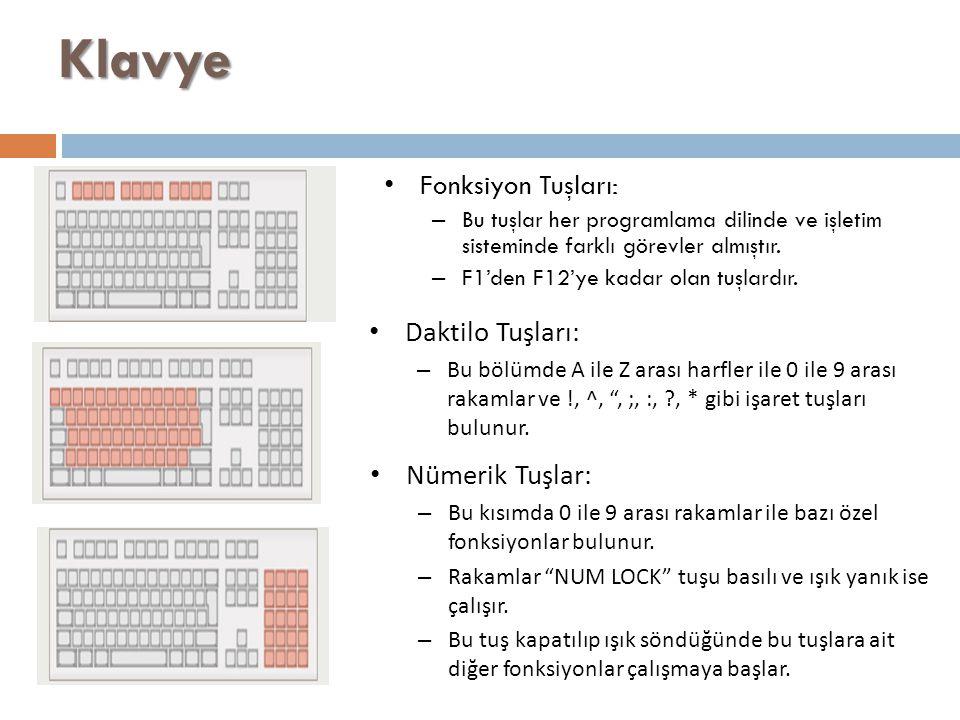 Klavye Fonksiyon Tuşları: – Bu tuşlar her programlama dilinde ve işletim sisteminde farklı görevler almıştır. – F1'den F12'ye kadar olan tuşlardır. Da