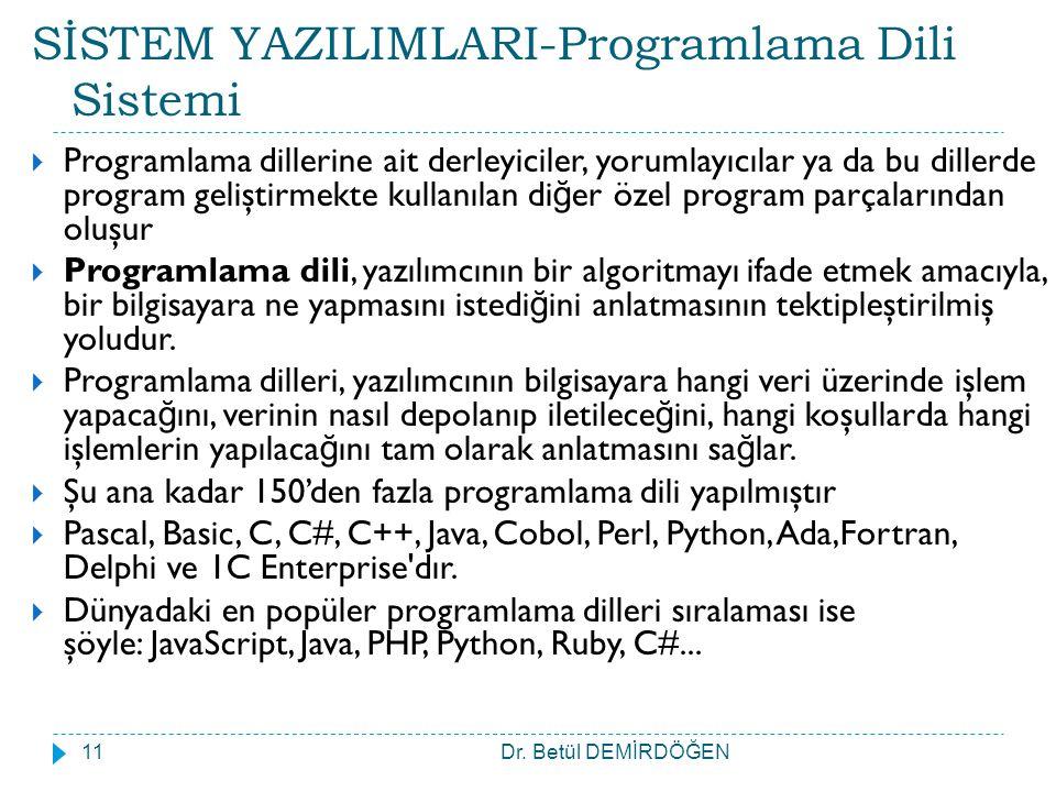 SİSTEM YAZILIMLARI-Programlama Dili Sistemi  Programlama dillerine ait derleyiciler, yorumlayıcılar ya da bu dillerde program geliştirmekte kullanıla