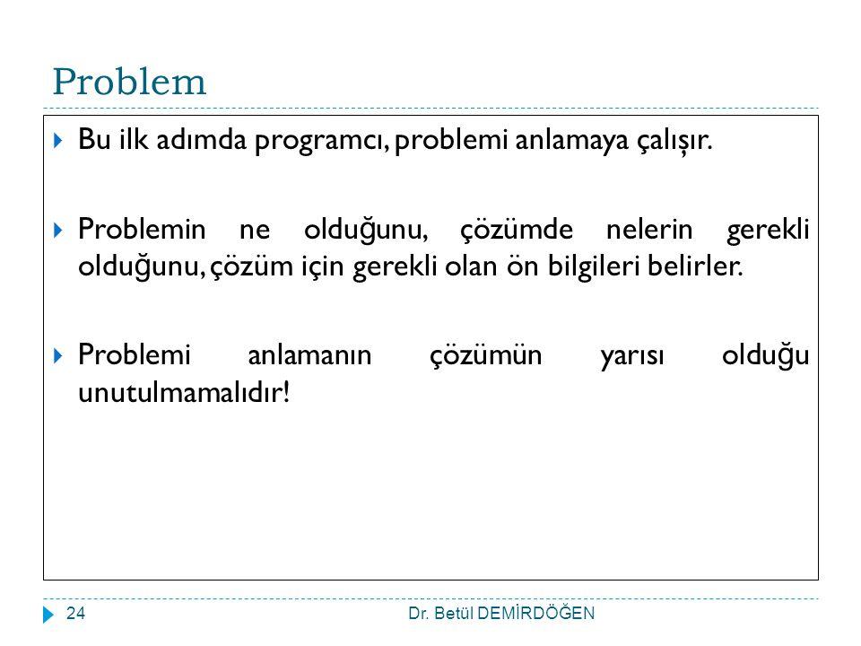 Dr. Betül DEMİRDÖĞEN24 Problem  Bu ilk adımda programcı, problemi anlamaya çalışır.  Problemin ne oldu ğ unu, çözümde nelerin gerekli oldu ğ unu, çö