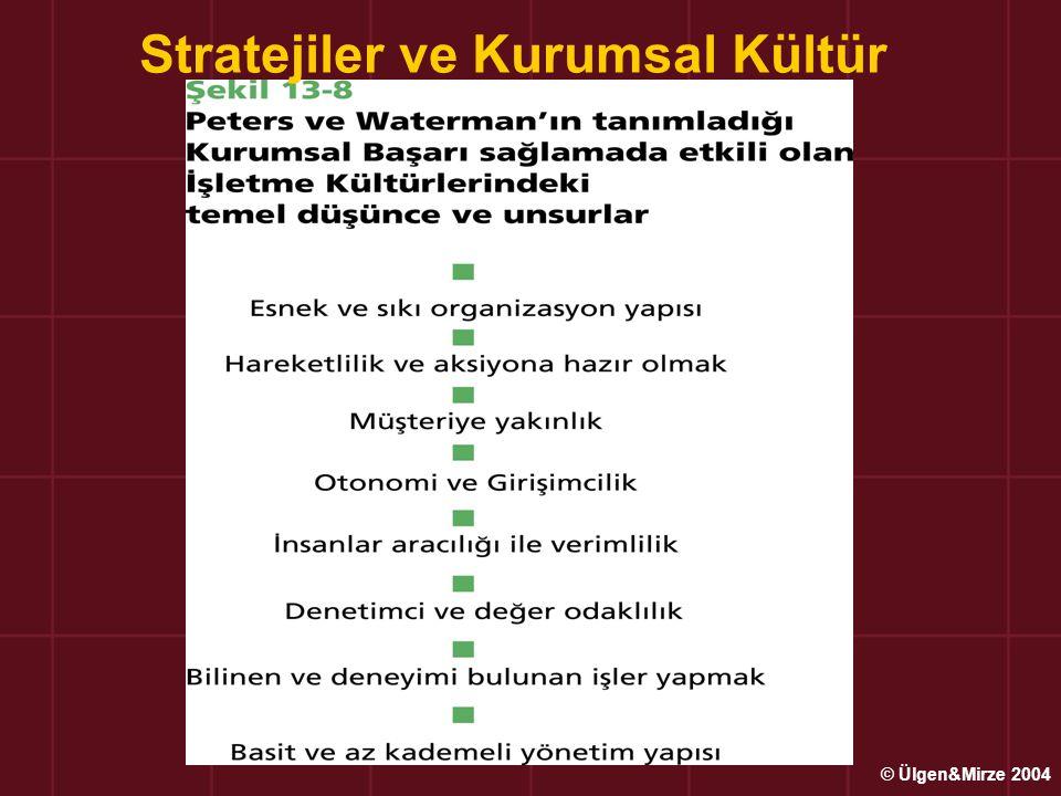 Stratejiler ve Kurumsal Kültür © Ülgen&Mirze 2004