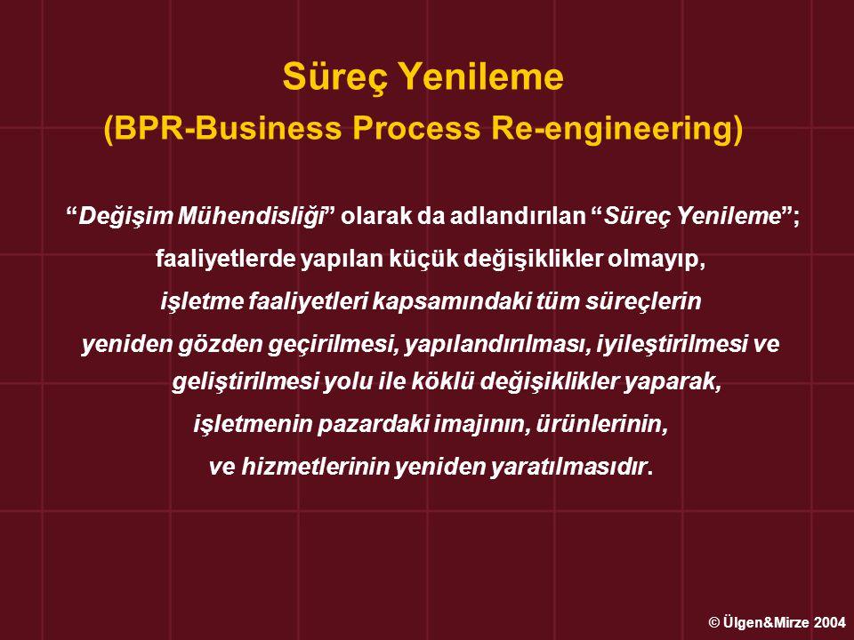 """Süreç Yenileme (BPR-Business Process Re-engineering) """"Değişim Mühendisliği"""" olarak da adlandırılan """"Süreç Yenileme""""; faaliyetlerde yapılan küçük değiş"""