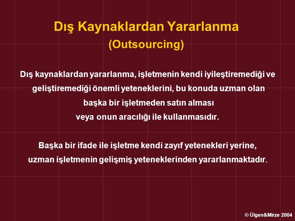 Dış Kaynaklardan Yararlanma (Outsourcing) Dış kaynaklardan yararlanma, işletmenin kendi iyileştiremediği ve geliştiremediği önemli yeteneklerini, bu k