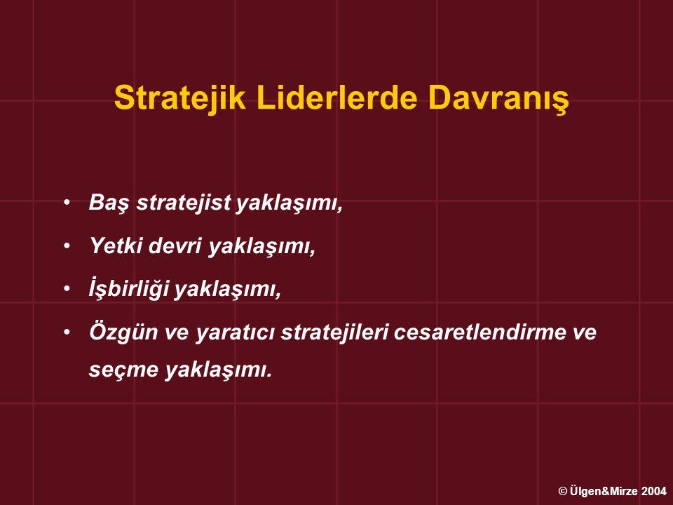 Stratejik Liderlerde Davranış Baş stratejist yaklaşımı, Yetki devri yaklaşımı, İşbirliği yaklaşımı, Özgün ve yaratıcı stratejileri cesaretlendirme ve