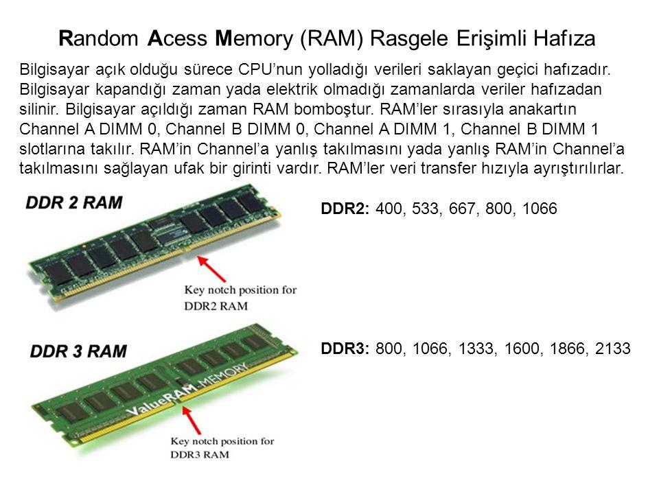 Bilgisayar açık olduğu sürece CPU'nun yolladığı verileri saklayan geçici hafızadır. Bilgisayar kapandığı zaman yada elektrik olmadığı zamanlarda veril